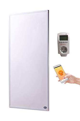 Könighaus Infrarot Heizung 1000 Watt mit Smart Home Thermostat inkl. App (IOS/Android) - schlichter weißer Rahmen - deutscher Hersteller und vom Tüv Süd GS geprüft - neueste Technologie - 30 Tage Zufriedenheitsgarantie - 5 Jahre Herstellergarantie- Elektroheizung mit Überhitzungsschutz - Fern Infrarotheizung