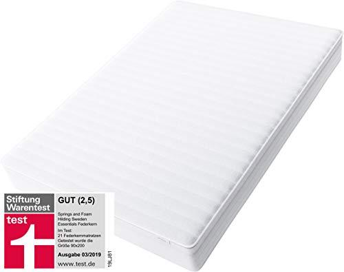 Hilding Sweden Essentials Federkernmatratze in Weiß / Mittelfeste Matratze mit orthopädischem 7-Zonen-Schnitt für alle Schlaftypen (H2-H3) / 140 x 200 cm